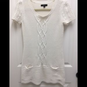 Express Off-White Cable Knit Tunic Short Top-Small